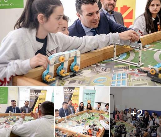 """Премиерот на средба со учениците иноватори и нивните професори и ментори, кои како тим """"MAKBot Pioneers"""" ќе ја претставуваат Македонија на Светското првенство во Детроит"""